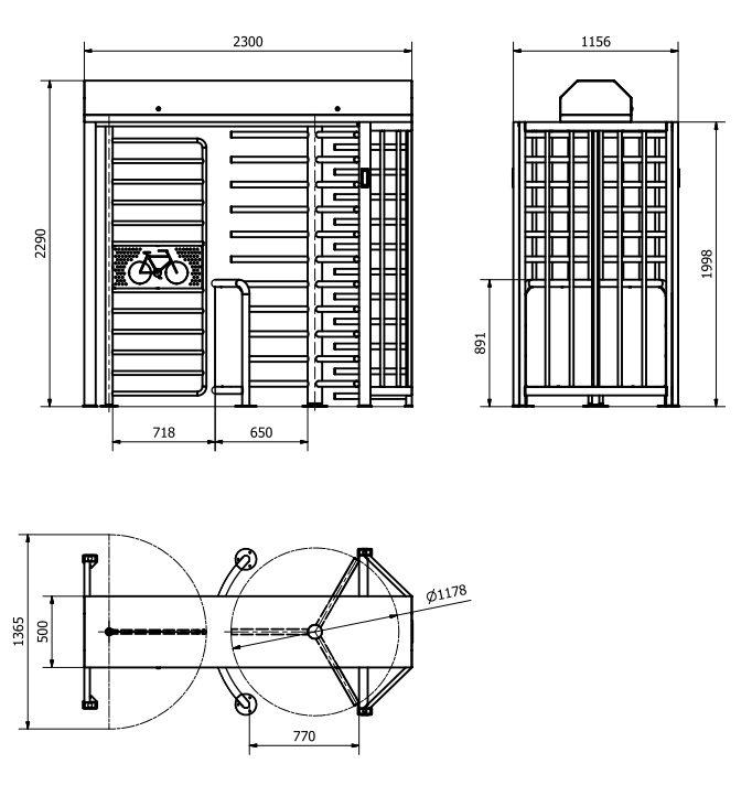 Полноростовой турникет BICYCLONE - размеры