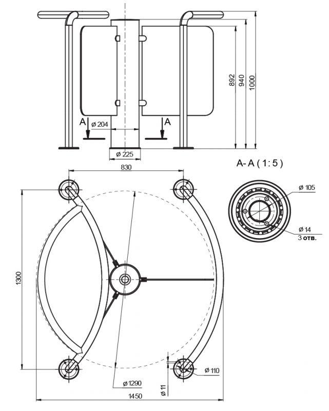 Роторный турникет Star-TS - Схема