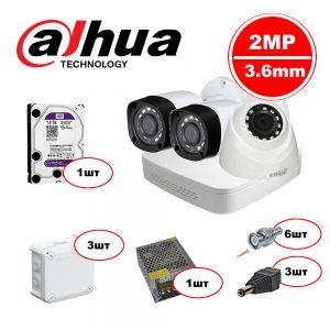 Комплект видеонаблюдения Dahua HDCVI – 2out 1in 720р