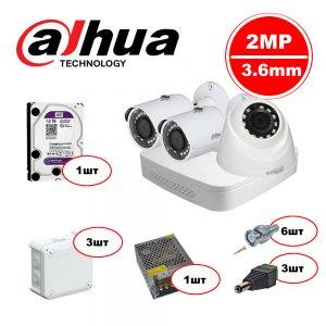 Комплект видеонаблюдения для заправки HDCVI – 2out 1in 1080р