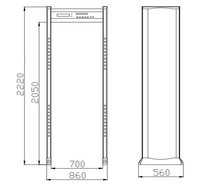 Размеры металлодетектора VO-2000
