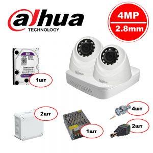 Комплект видеонаблюдения Dahua HDCVI – 2in 4MP