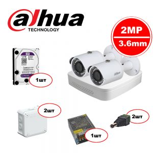 Комплект видеонаблюдения Dahua IP – 2out 2MP