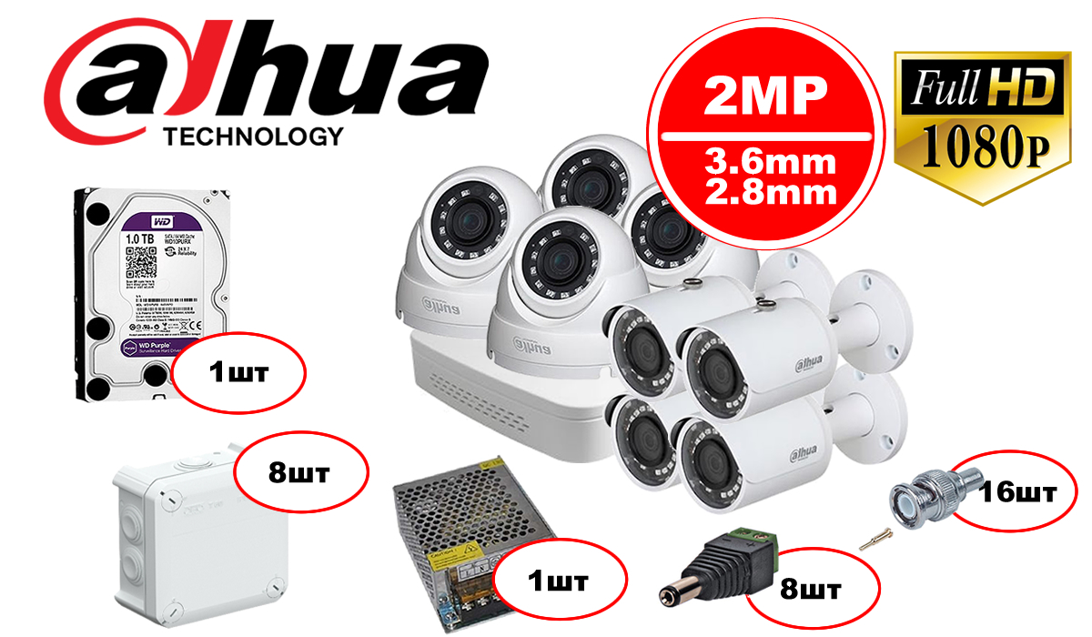 Комплект видеонаблюдения Dahua HDCVI – 4in 4out 1080р