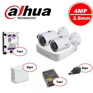 Комплект видеонаблюдения Dahua IP – 2out 4MP