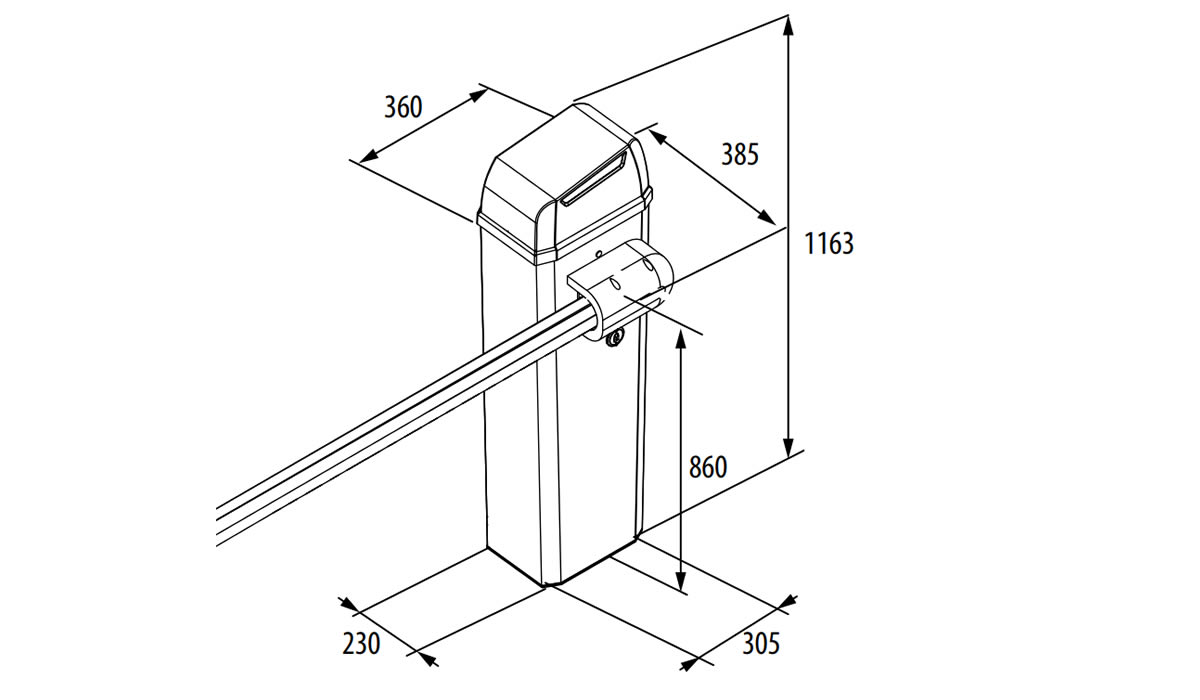 Электромеханический шлагбаум FAAC B614 — размеры